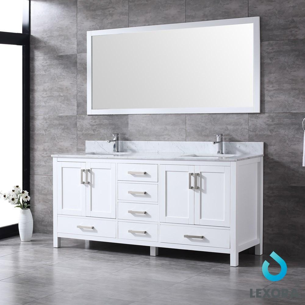 "Jacques 72"" Double Vanity Cabinet Carrara Marble Top Sinks & 70"" Wall Mirror LJ342272DADSM70"