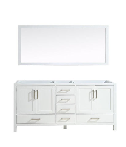 "Jacques 72"" Double Vintage Bathroom Organiser Vanity Cabinet & 70"" Wall Mirror LJ342272DA00M70"