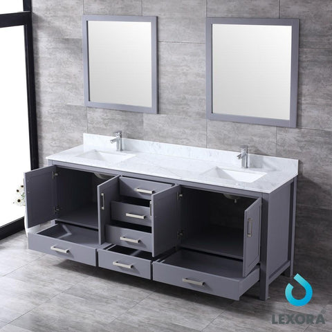 "Image of Jacques 80"" Dark Grey Double Vanity Carrara Marble Top Sinks & 30"" Wall Mirrors LJ342280DBDSM30"