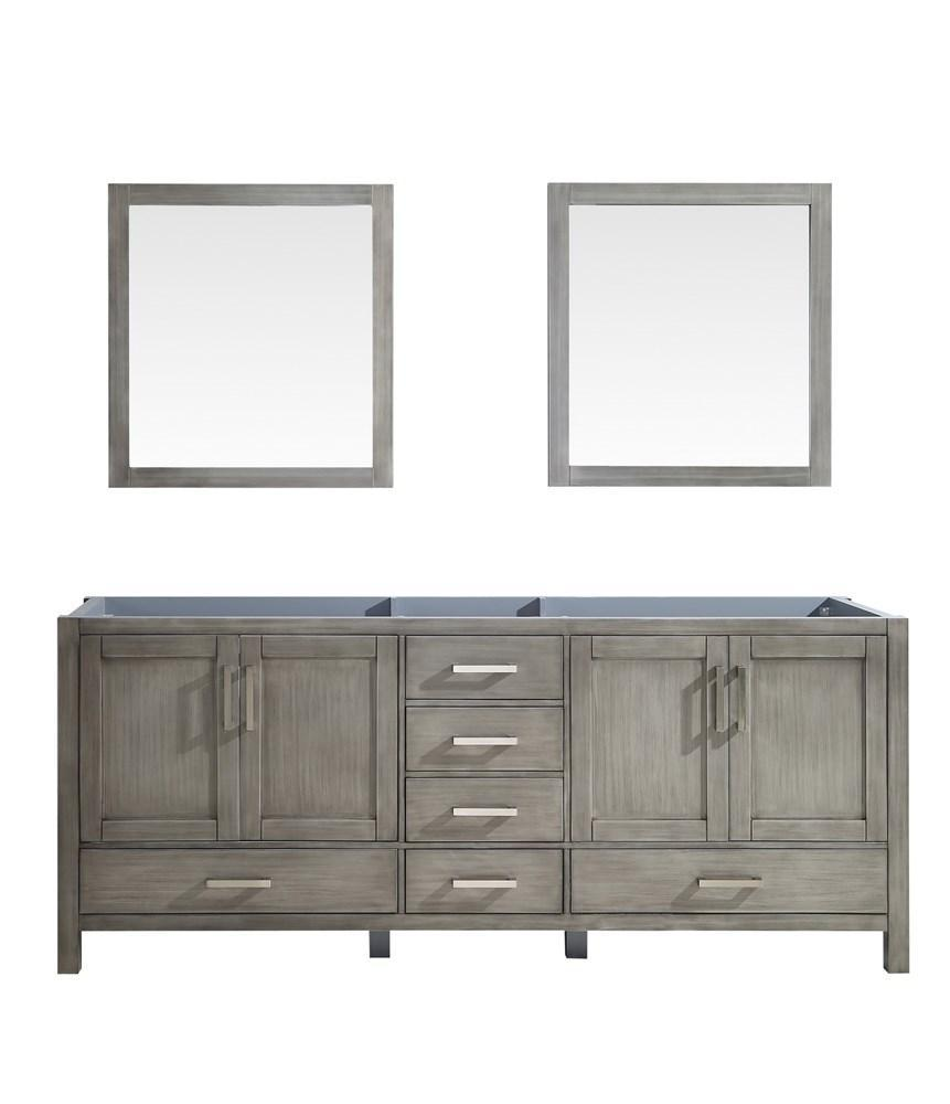 "Jacques 80"" Distressed Grey Double Bathroom Vanity Cabinet & 30"" Wall Mirrors LJ342280DD00M30"