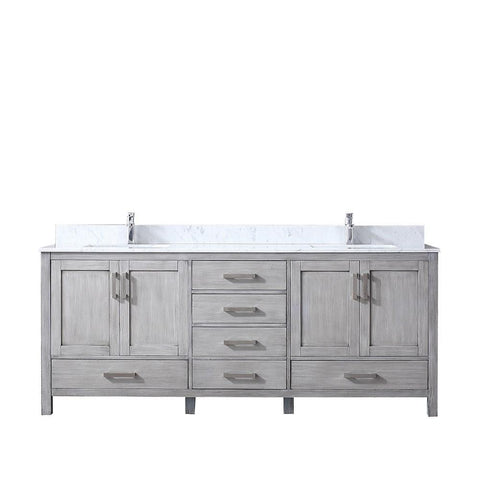 "Jacques 80"" Distressed Grey Double Vanity Cabinet Carrara Marble Top Sinks LJ342280DDDS000"