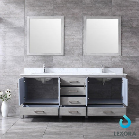 "Jacques 80"" Distressed Grey Double Vanity Carrara Marble Top Sinks & 30"" Mirrors LJ342280DDDSM30"