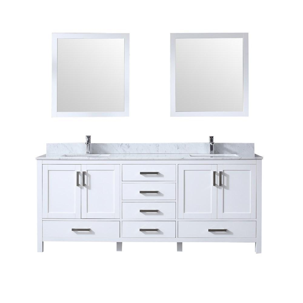 "Jacques 80"" Double Vanity Cabinet Carrara Marble Top Sinks & 30"" Wall Mirrors LJ342280DADSM30"