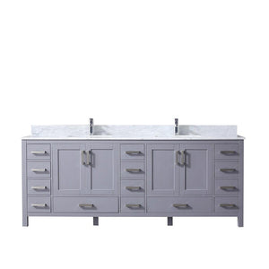 "Jacques 84"" Dark Grey Double Bath Vanity Cabinet Carrara Marble Top Square Sinks LJ342284DBDS000"