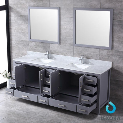 "Image of Jacques 84"" Dark Grey Double Vanity Carrara Marble Top Sinks & 34"" Wall Mirrors LJ342284DBDSM34"