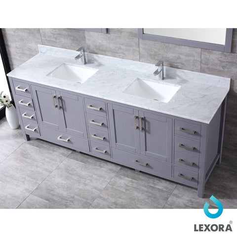"Jacques 84"" Dark Grey Double Vanity Carrara Marble Top Sinks & 34"" Wall Mirrors LJ342284DBDSM34"