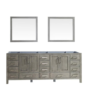"Jacques 84"" Distressed Grey Double Bathroom Vanity Cabinet & 34"" Wall Mirrors LJ342284DD00M34"
