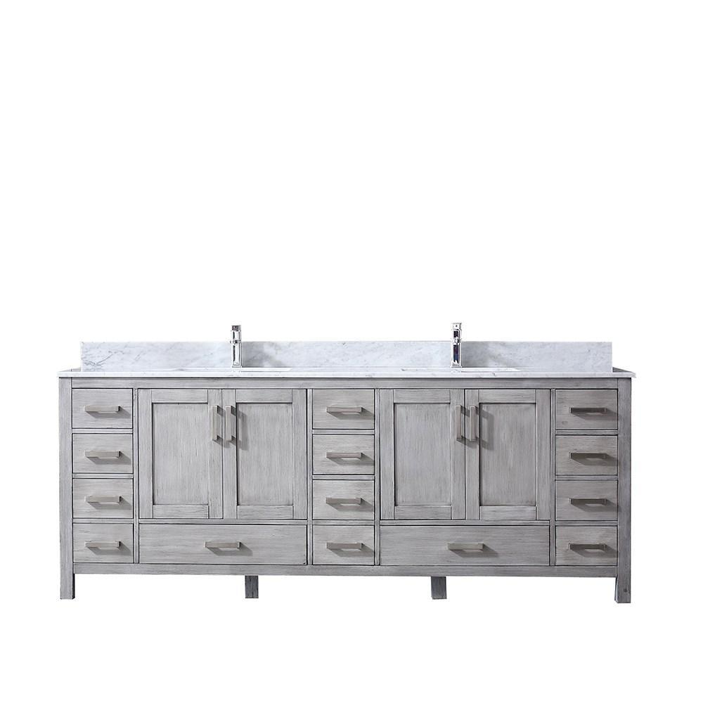 "Jacques 84"" Distressed Grey Double Vanity Cabinet Carrara Marble Top Sinks LJ342284DDDS000"