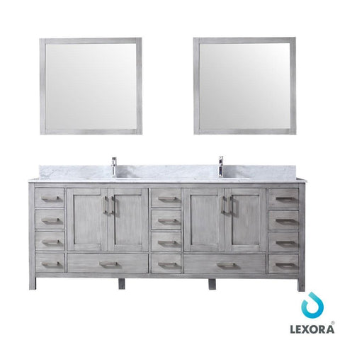 "Jacques 84"" Distressed Grey Double Vanity Carrara Marble Top Sinks & 34"" Mirrors LJ342284DDDSM34"