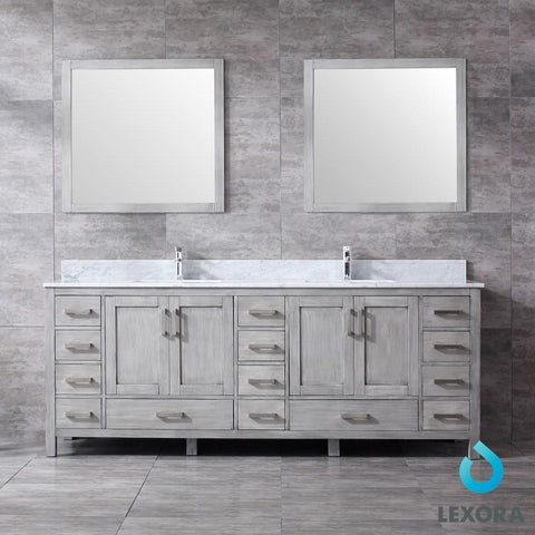 "Image of Jacques 84"" Distressed Grey Double Vanity Carrara Marble Top Sinks & 34"" Mirrors LJ342284DDDSM34"