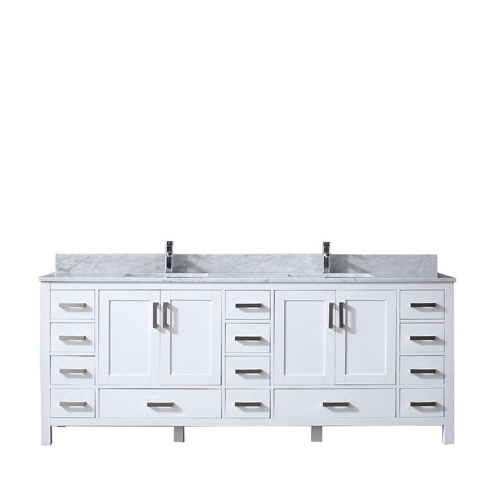 "Jacques 84"" Double Bathroom Vanity Cabinet Carrara Marble Top Square Sinks LJ342284DADS000"