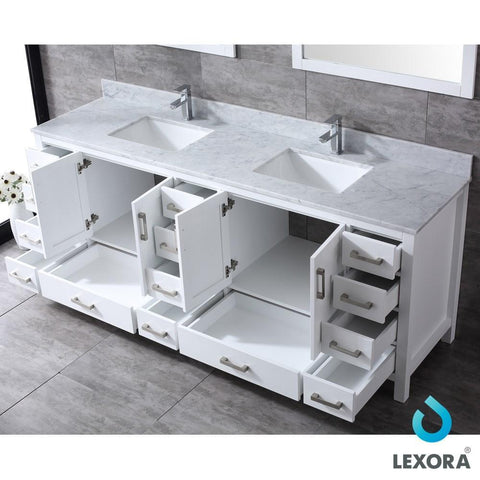 "Jacques 84"" Double Vanity Cabinet Carrara Marble Top Sinks & 34"" Wall Mirrors LJ342284DADSM34"