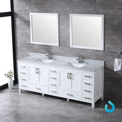 "Image of Jacques 84"" Double Vanity Cabinet Carrara Marble Top Sinks & 34"" Wall Mirrors LJ342284DADSM34"