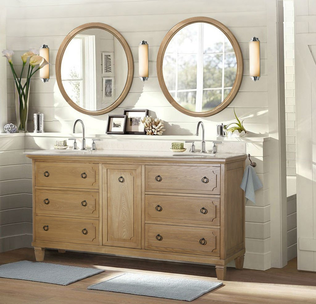 "Legion Furniture 60"" Weathered Brown Sink Vanity Matching Granite WLF6060"