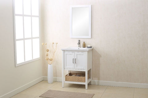 "Image of Legion WLF6021-W 24"" WHITE SINK VANITY WITH MIRROR, UPC FAUCET AND BASKET - White WLF6021-W"