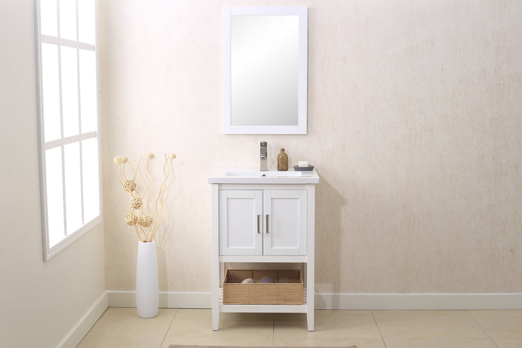 "Legion WLF6021-W 24"" WHITE SINK VANITY WITH MIRROR, UPC FAUCET AND BASKET - White WLF6021-W"