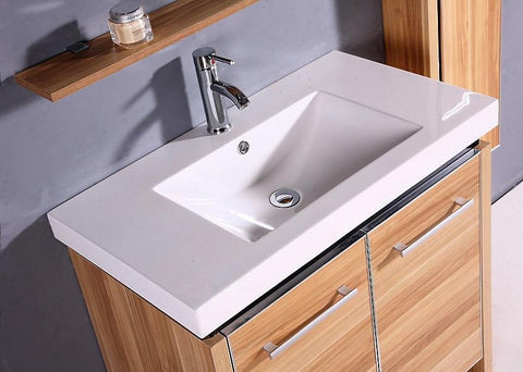 Image of Legion WTH0932 SINK VANITY  WITH MIRROR AND SIDE CABINET - NO FAUCET - Light Maple WTH0932