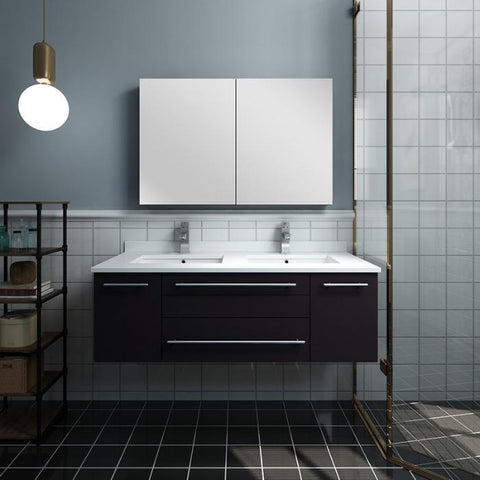 "Lucera 48"" Espresso Modern Wall Hung Double Undermount Sink Bathroom Vanity"