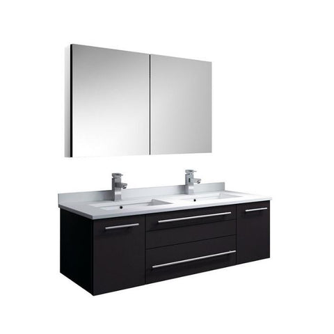 "Image of Lucera 48"" Espresso Modern Wall Hung Double Undermount Sink Bathroom Vanity FVN6148ES-UNS-D-FFT1030BN"