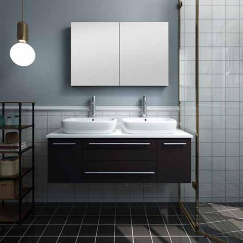 "Lucera 48"" Espresso Modern Wall Hung Double Vessel Sink Modern Bathroom Vanity"