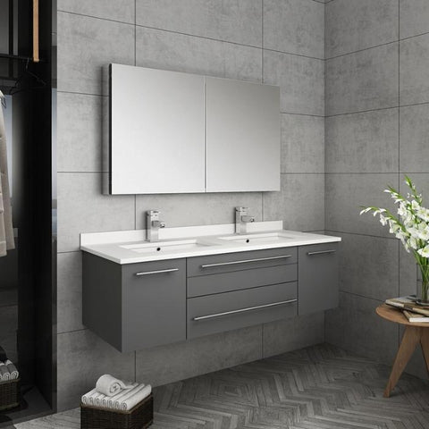 "Lucera 48"" Gray Modern Wall Hung Double Undermount Sink Bathroom Vanity"