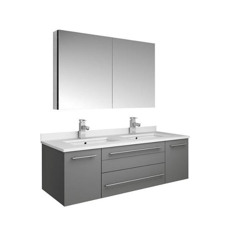 "Lucera 48"" Gray Modern Wall Hung Double Undermount Sink Bathroom Vanity FVN6148GR-UNS-D-FFT1030BN"