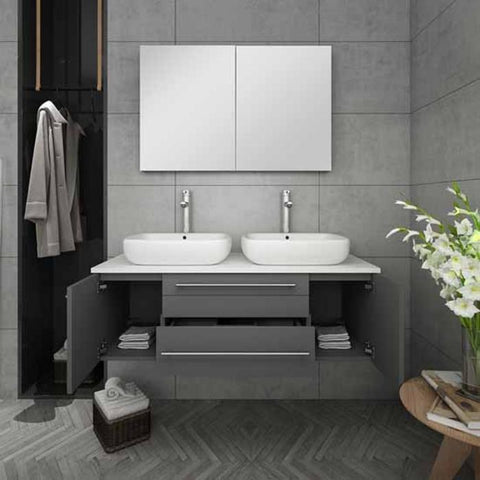 "Lucera 48"" Gray Modern Wall Hung Double Vessel Sink Modern Bathroom Vanity"