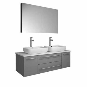 "Lucera 48"" Gray Modern Wall Hung Double Vessel Sink Modern Bathroom Vanity FVN6148GR-VSL-D-FFT1044CH"