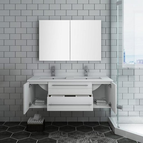 "Lucera 48"" White Modern Wall Hung Double Undermount Sink Bathroom Vanity"