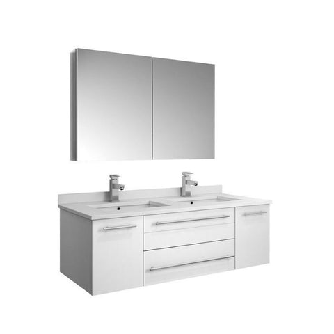 "Lucera 48"" White Modern Wall Hung Double Undermount Sink Bathroom Vanity FVN6148WH-UNS-D-FFT1030BN"