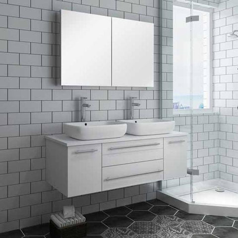 "Lucera 48"" White Modern Wall Hung Double Vessel Sink Modern Bathroom Vanity"