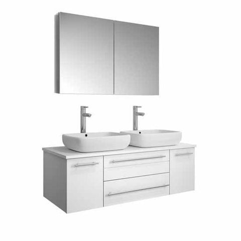 "Image of Lucera 48"" White Modern Wall Hung Double Vessel Sink Modern Bathroom Vanity FVN6148WH-VSL-D-FFT1044CH"