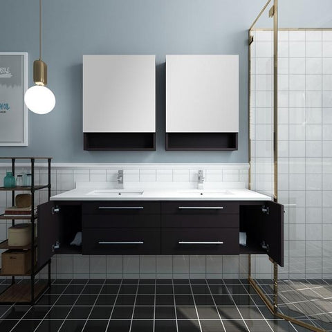 "Lucera 60"" Espresso Modern Wall Hung Double Undermount Sink Bathroom Vanity"