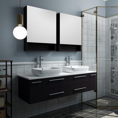 "Lucera 60"" Espresso Modern Wall Hung Double Vessel Sink Modern Bathroom Vanity"