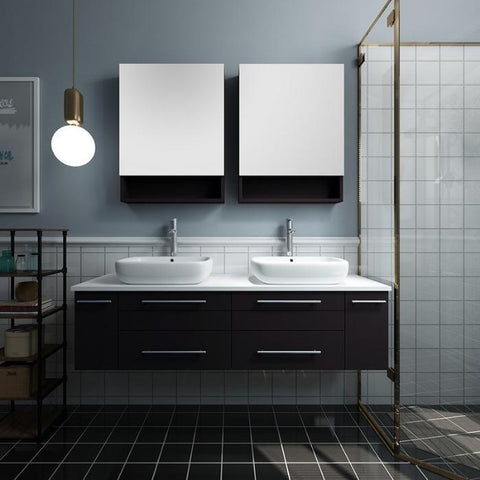 "Image of Lucera 60"" Espresso Modern Wall Hung Double Vessel Sink Modern Bathroom Vanity"