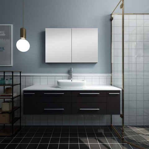 "Image of Lucera 60"" Espresso Modern Wall Hung Vessel Sink Modern Bathroom Vanity"