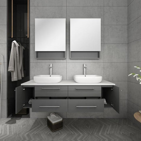 "Image of Lucera 60"" Gray Modern Wall Hung Double Vessel Sink Modern Bathroom Vanity"