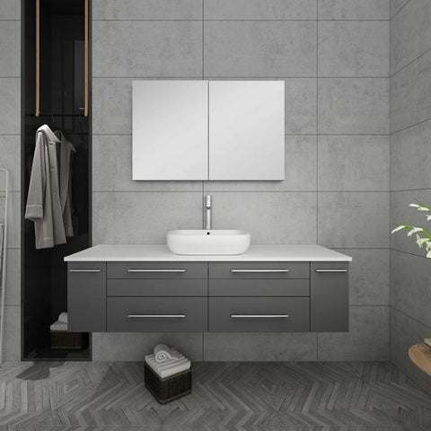 "Lucera 60"" Gray Modern Wall Hung Vessel Sink Modern Bathroom Vanity"