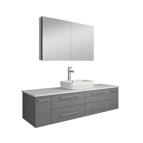 "Image of Lucera 60"" Gray Modern Wall Hung Vessel Sink Modern Bathroom Vanity FVN6160GR-VSL-FFT1044CH"