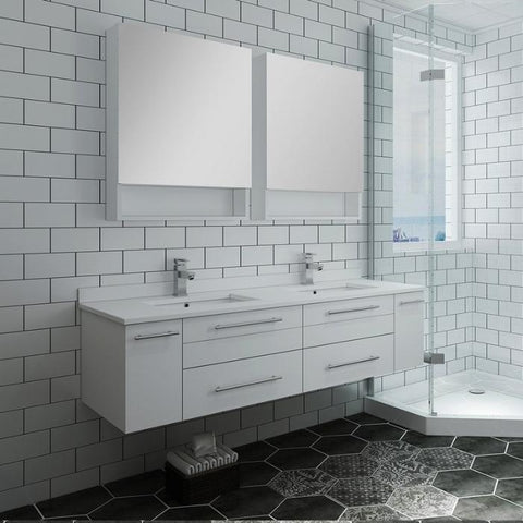 "Lucera 60"" White Modern Wall Hung Double Undermount Sink Bathroom Vanity"