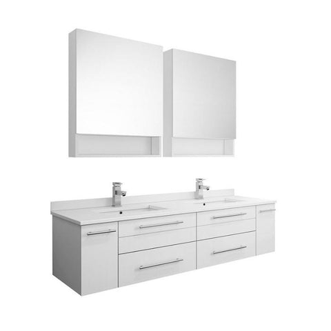 "Lucera 60"" White Modern Wall Hung Double Undermount Sink Bathroom Vanity FVN6160WH-UNS-D-FFT1030BN"