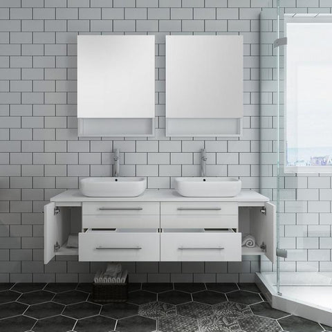 "Lucera 60"" White Modern Wall Hung Double Vessel Sink Modern Bathroom Vanity"