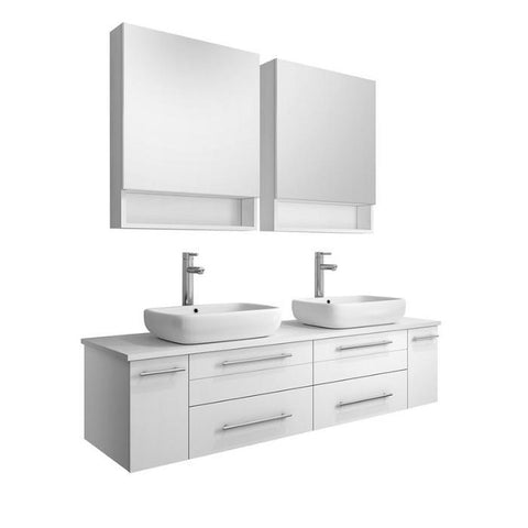 "Image of Lucera 60"" White Modern Wall Hung Double Vessel Sink Modern Bathroom Vanity FVN6160WH-VSL-D-FFT1044CH"