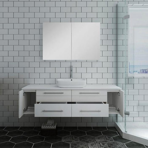 "Lucera 60"" White Modern Wall Hung Vessel Sink Modern Bathroom Vanity"