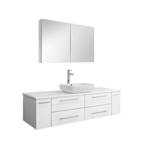 "Image of Lucera 60"" White Modern Wall Hung Vessel Sink Modern Bathroom Vanity FVN6160WH-VSL-FFT1044CH"