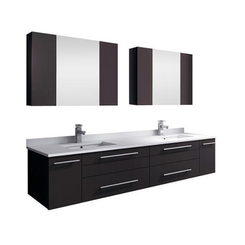 "Lucera 72"" Espresso Modern Wall Hung Double Undermount Sink Bathroom Vanity"