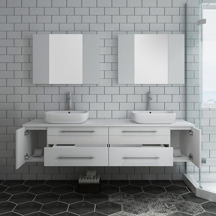 "Lucera 72"" White Modern Wall Hung Double Vessel Sink Modern Bathroom Vanity"
