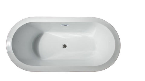 "Image of Lure 59"" Free Standing Acrylic Vintage Freestanding Bathtub w/ Chrome Drain LD900459A1C0000"