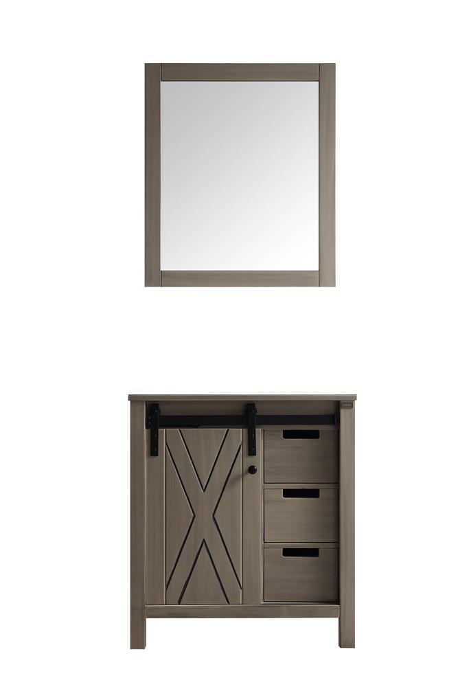 "Marsyas 30"" Ash Grey Single Vintage Bathroom Vanity Cabinet & 28"" Wall Mirror LM342230SH00M28"