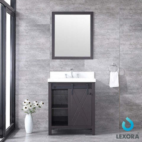 "Image of Marsyas 30"" Brown Single Vanity Cabinet Quartz Top Square Sink & 28"" Wall Mirror LM342230SCCSM28"